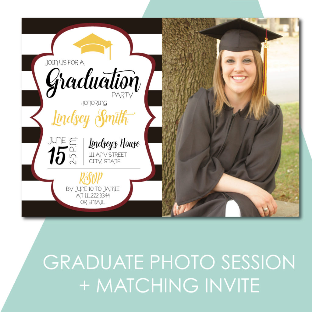 Schedule photos of your Graduate and get a matching announcement design