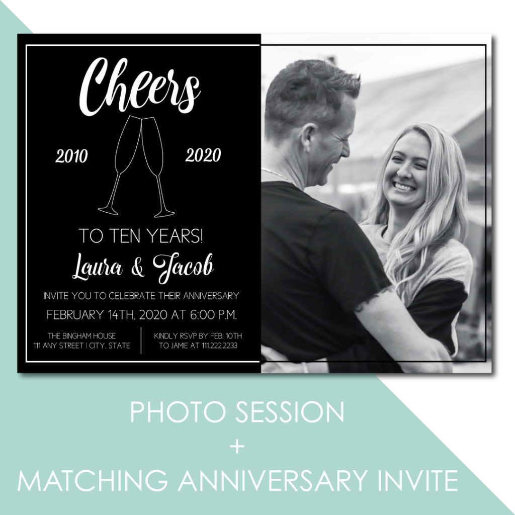 Family Photo Session with Anniversary Party Invitation