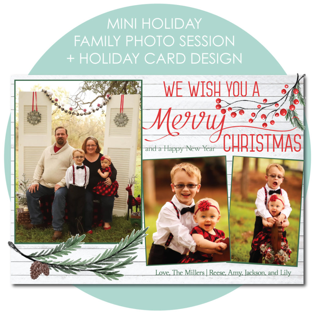 Holiday card design included with every Christmas mini-session.