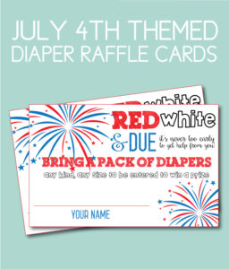 July 4th Themed Diaper Raffle Cards