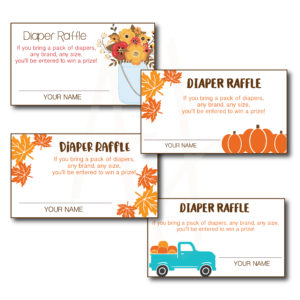 Fall Themed Diaper Raffle Cards