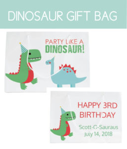 Dinosaur Gift Bag with Personalization