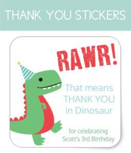 Dinosaur Thank You Stickers