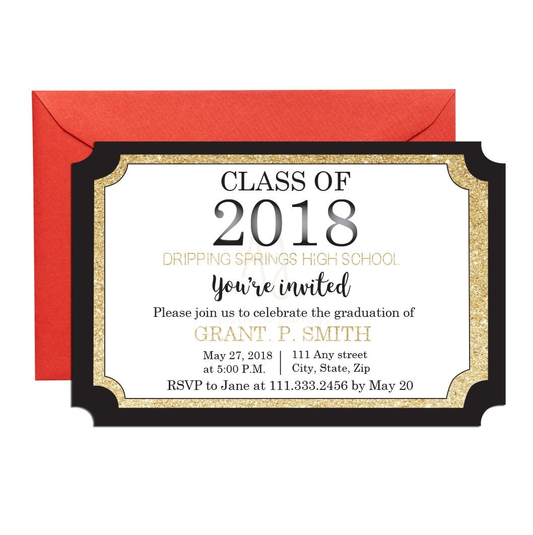 Diploma Shaped Graduation Invite