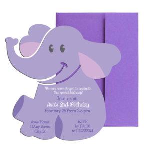 Elephant Birthday Party Invite