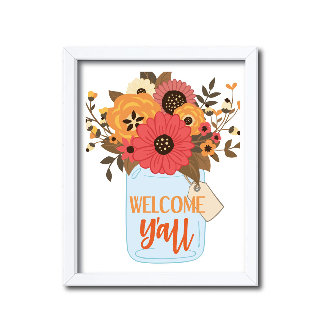 Fall Floral Mason Jar Sign