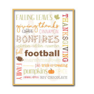 Fall Word Collage Sign
