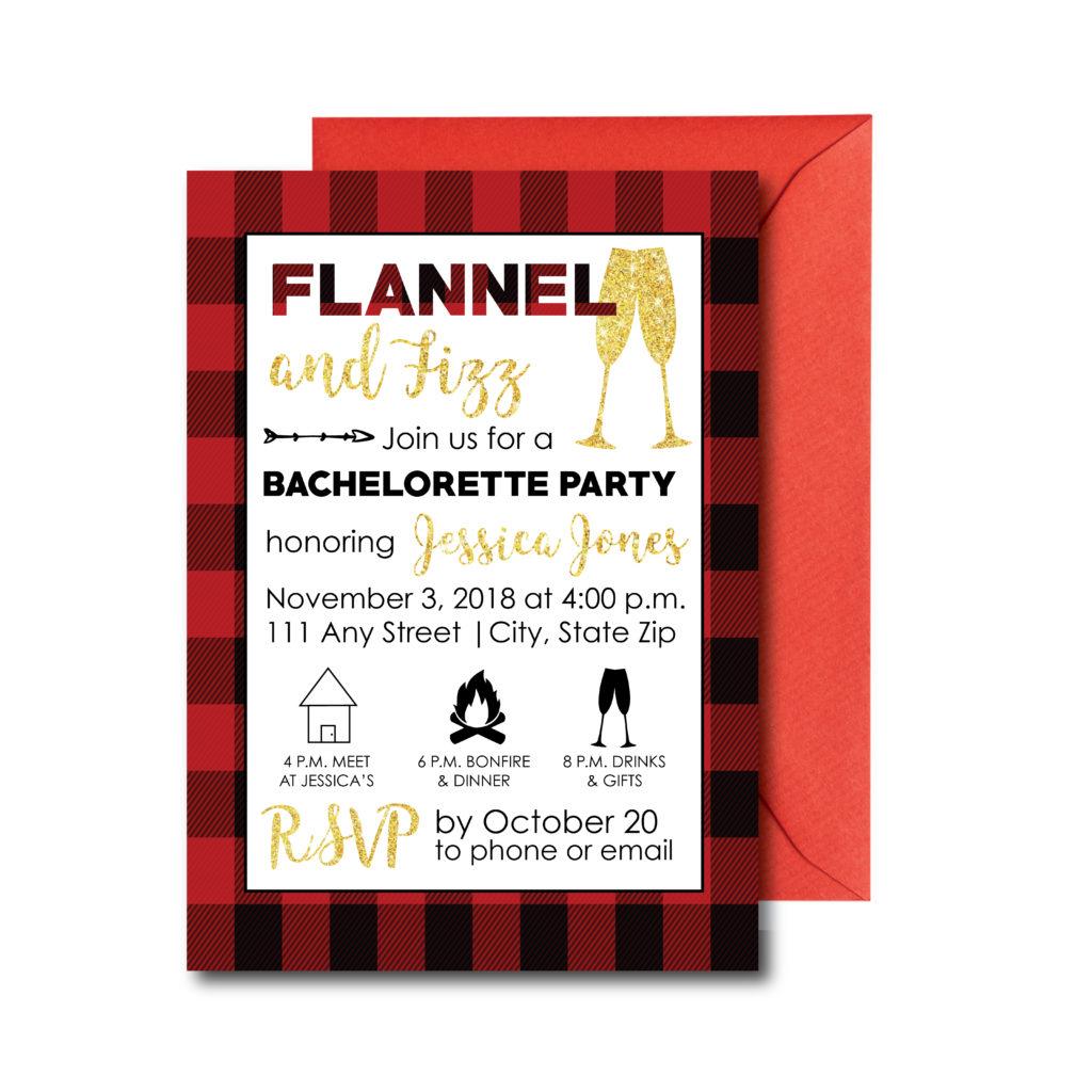Flannel and Fizz Bachelorette Invite