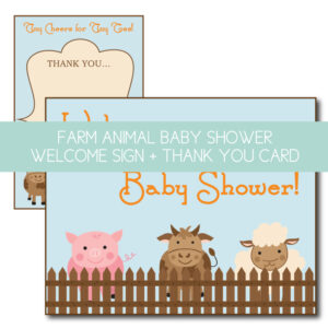 farm animal welcome sign and thank you card