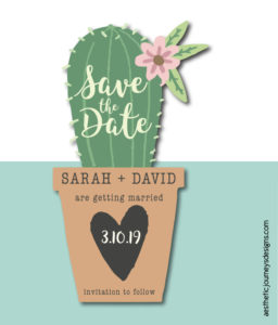 Fiesta Themed Wedding Save the Date in a Cactus Shape