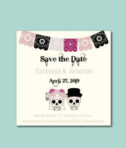 Dia de los Muertos themed wedding save the date