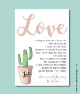 Simple Cactus Invite for a Fiesta wedding theme