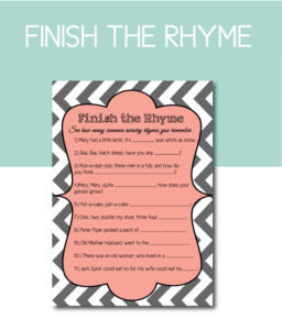 Finish the Rhyme Shower Game in Pink and Grey