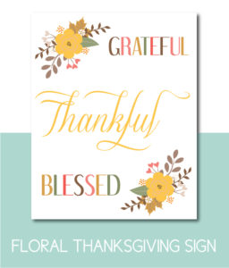 Fall Floral Grateful, Thankful, Blessed Sign