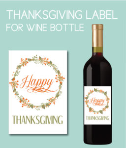 Fall Floral Happy Thanksgiving Wine Bottle Label