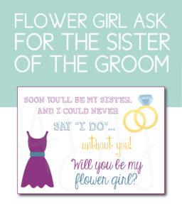 Sister of the Groom Flower Girl Card