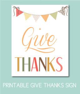 Printable Give Thanks Sign