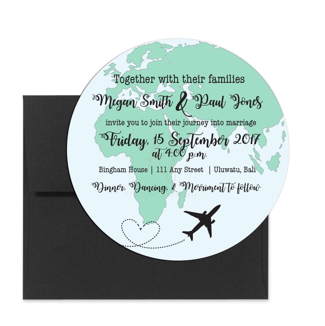 Globe Shaped Wedding Invite