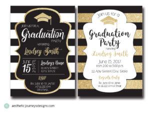 Gold and Black Graduation Invites