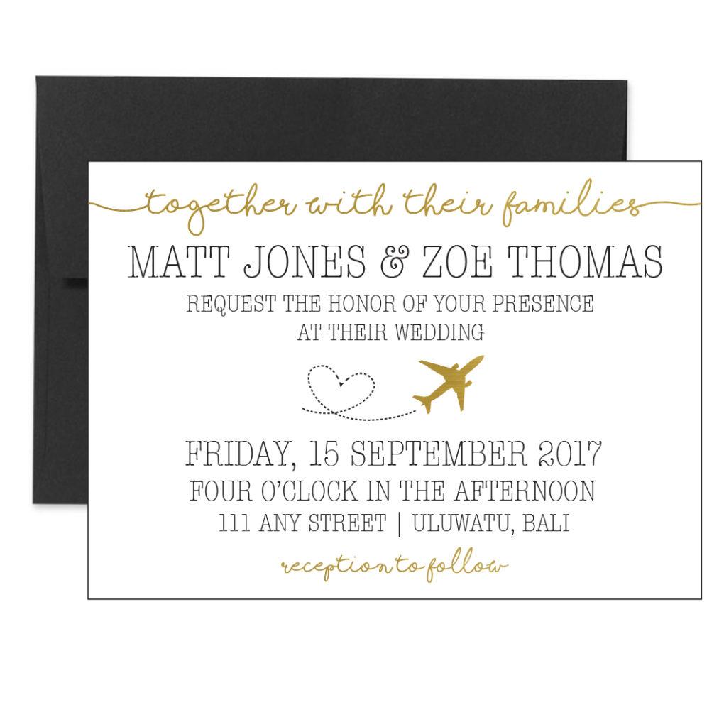 Gold Travel Themed Invite