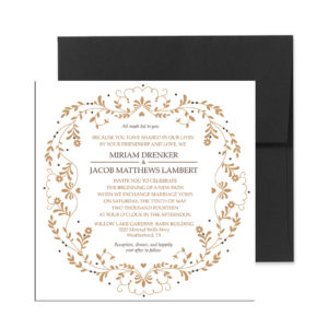 Gold floral invite
