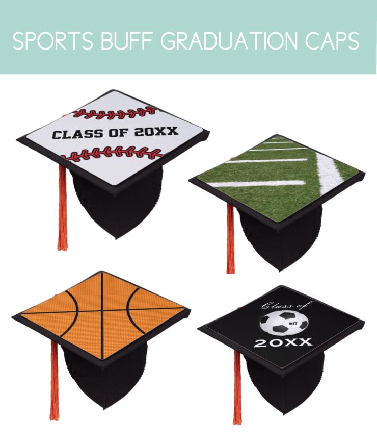 Sports themed graduation caps