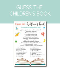Guess the Children's Book Shower Game