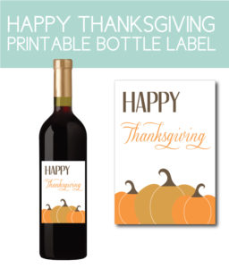 Happy Thanksgiving Wine Bottle Label with Pumpkins