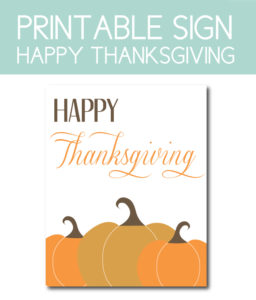 Happy Thanksgiving Printable Sign