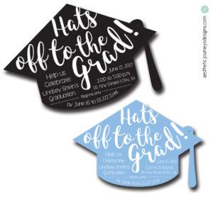 Hat Shaped Graduation Invites