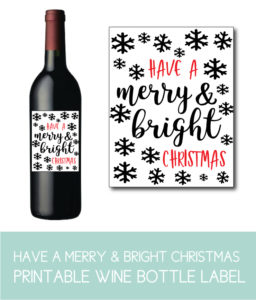 Have a Bright and Merry Christmas Wine Bottle Label