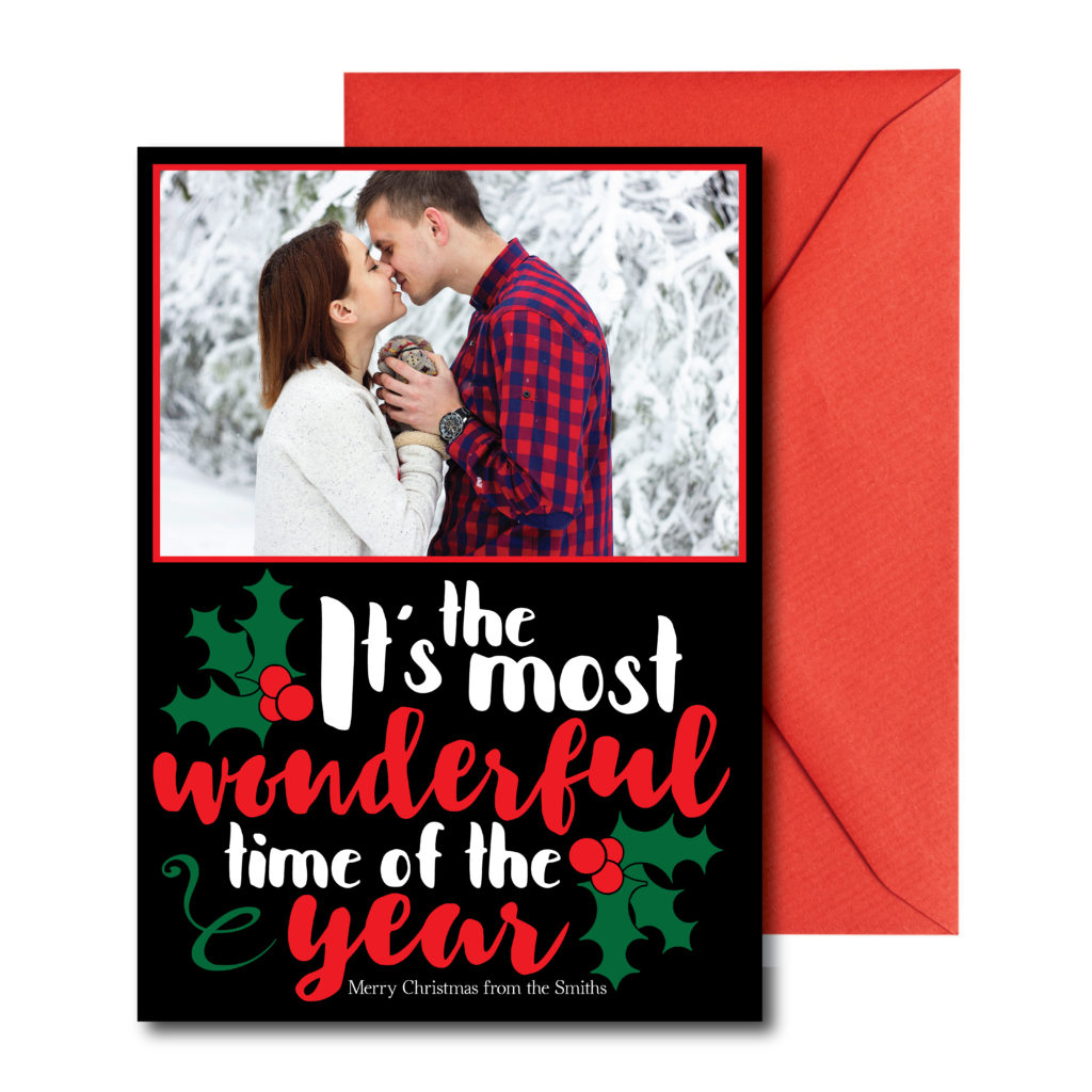 Photo Holiday Card in Red and Black