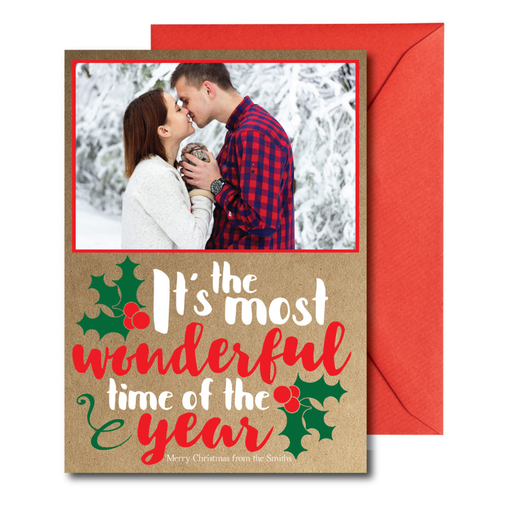 Photo Holiday Card with Rustic Back