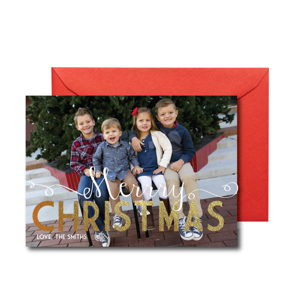 Photo Christmas Card with Gold
