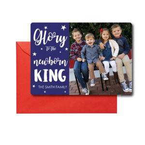 Blue and White Religious Christmas Card