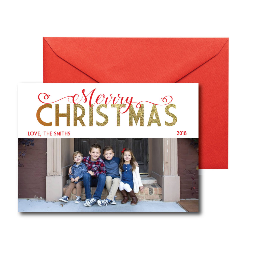 Red and Gold Photo Christmas Card