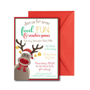 Cute Reindeer Holiday Party Invite