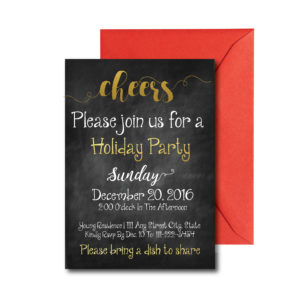 Black and Gold Holiday Party Invite