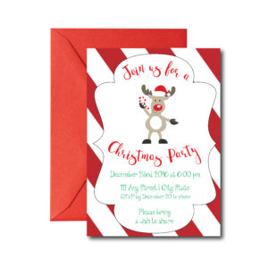 Reindeer Themed Holiday Party Invite