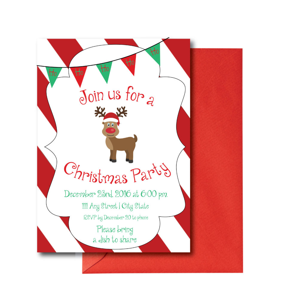 Red and White Reindeer Invite