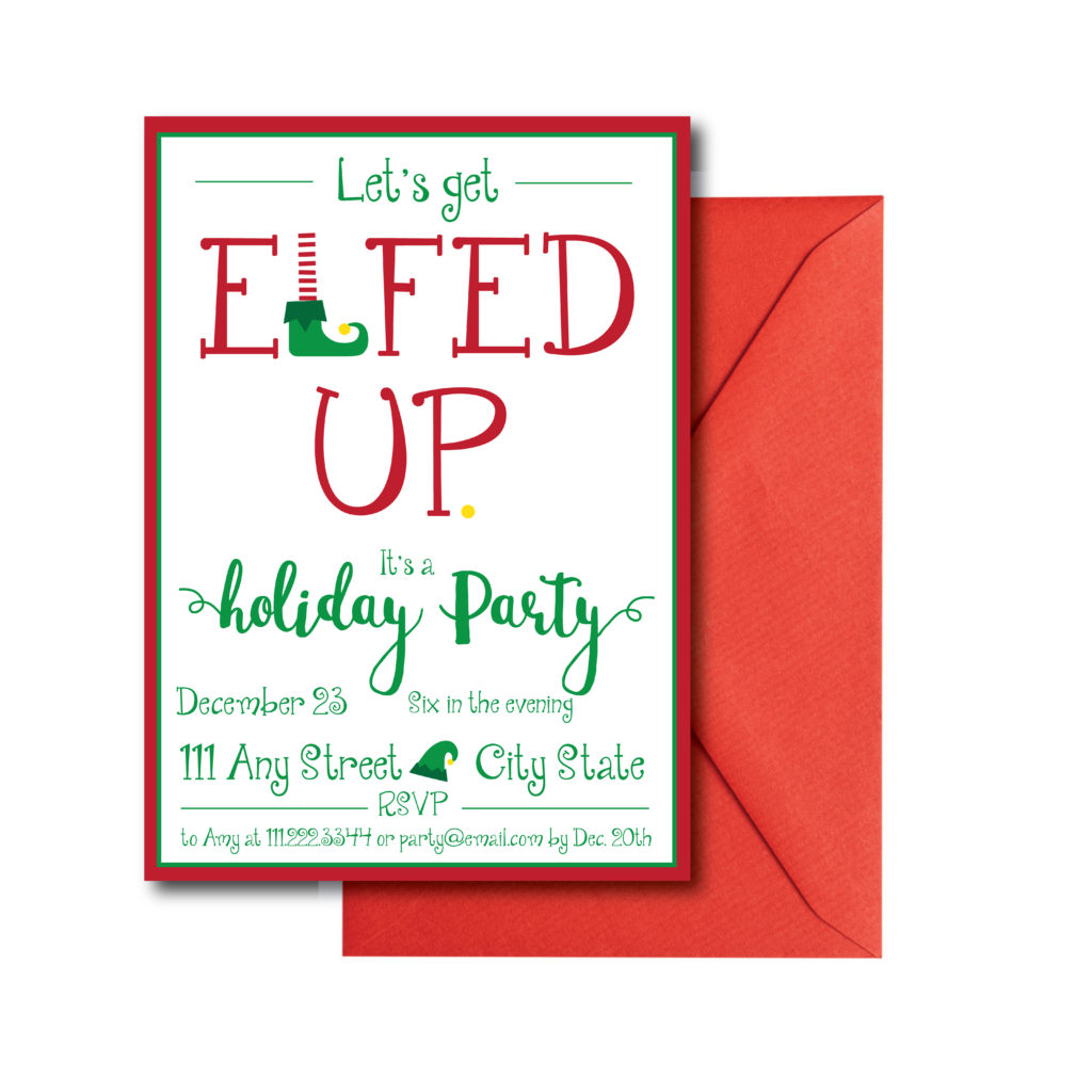 Elf Themed Holiday Party Invite