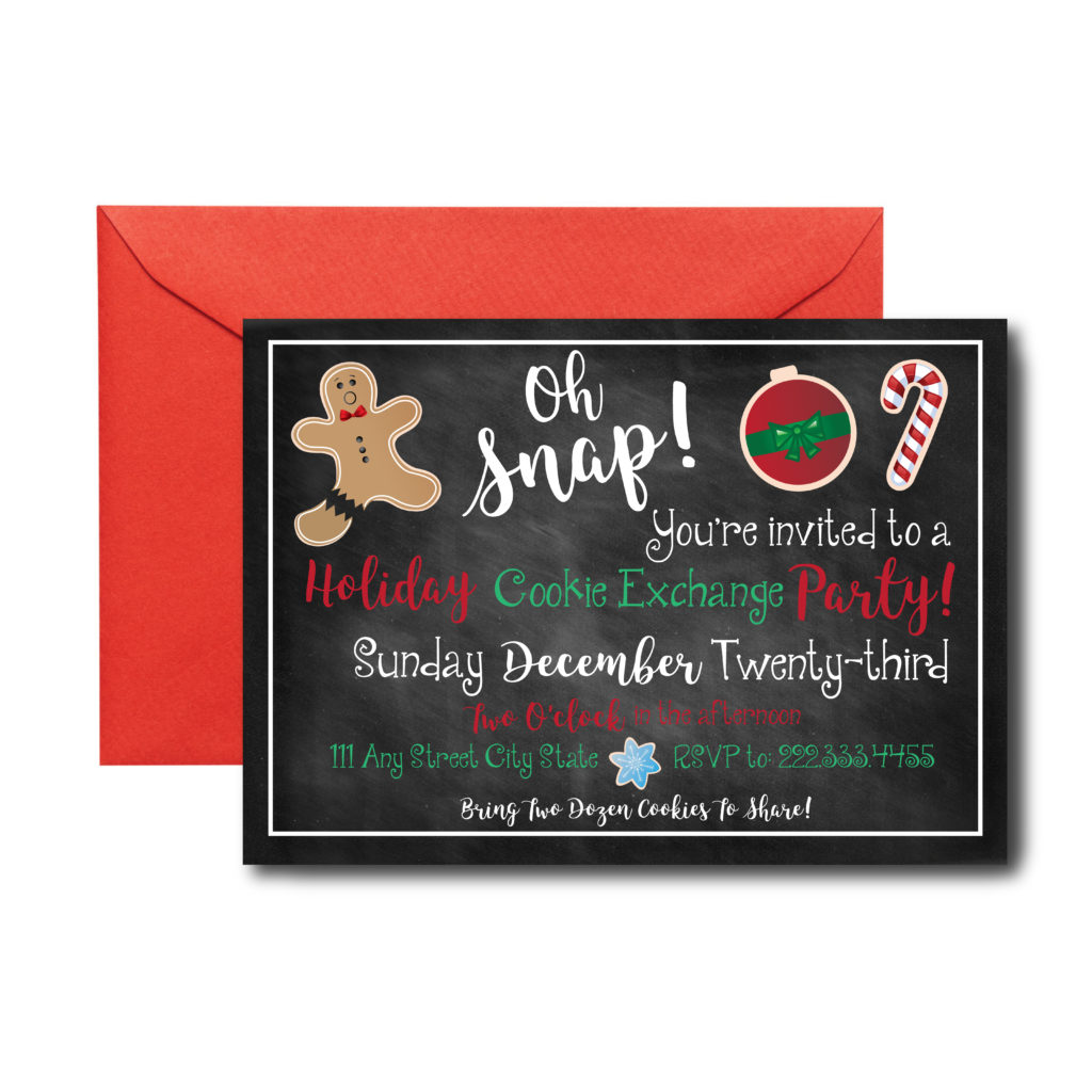 Chalkboard Holiday Cookie Swap Invite