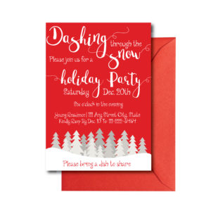 Red and White Holiday Party Invite