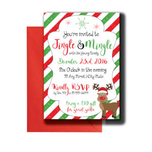 Red and Green Reindeer Themed Invite