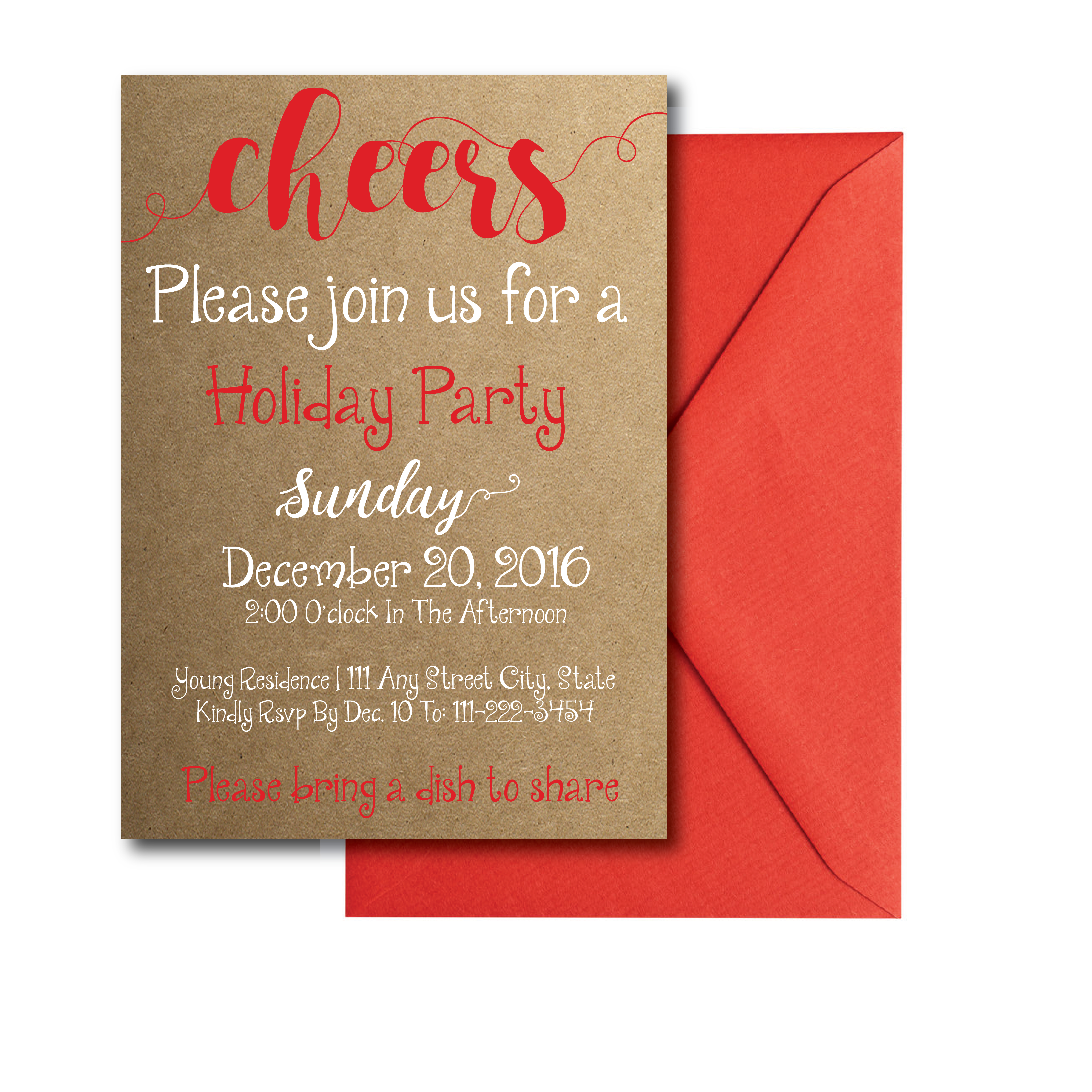 Rustic Cheers Holiday Party Invite