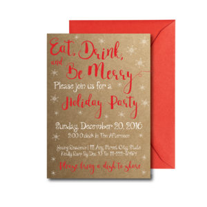 Rustic Eat Drink and Be Merry Party invite