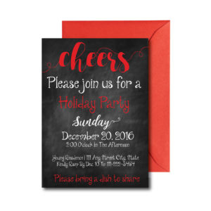 Cheers Chalkboard Holiday Party Invite