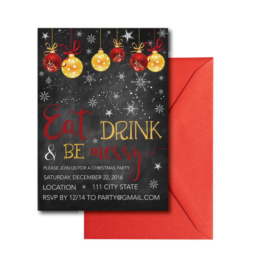 Snowflake Chalkboard Christmas Party Invite