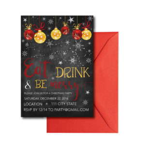 Snowflake Chalkboard Christmas Party Invite