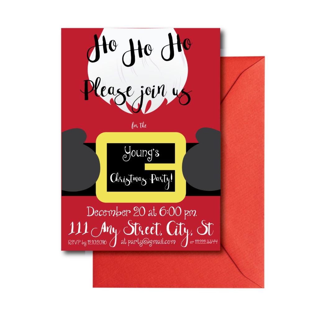 Santa Themed Holiday Party Invite